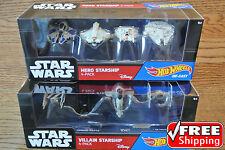 STAR WARS Hot Wheels HERO & VILLAIN STARSHIP 4-Pack (x2) 8-Pack Die-Cast **NIP**
