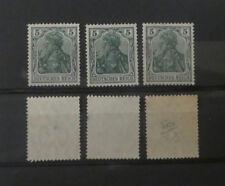 3 Timbres Allemagne Reich Germania**.avec et sans filigrane, colle brille (A018)
