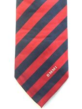 "BMMI EMPLOYEE SILK NECK TIE, MADE IN ENGLAND, BLUE AND RED STRIPE, 55"" LONG, NEW"