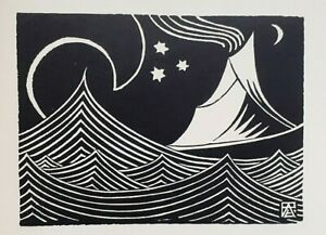 ' FUJI & WAVE ' : By ANDERNACHT - Limited Edition 1922 Woodcut / Woodblock Print