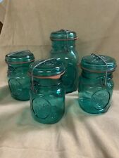 4 Ball Ideal Blue/Green Mason Jars Bicentennial Celebration 1776-1976 Eagle