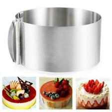 """6""""-12"""" Adjustable Stainless Steel Mousse Cake Ring Mold Layer Cutter Baking New"""