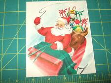 vintage card Christmas midcentury 1948 1940s santa red sleigh hallmark glitter