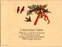 20s Vintage Christmas Card Birds Yellow Bells Red Bow Collectible Greeting Cards