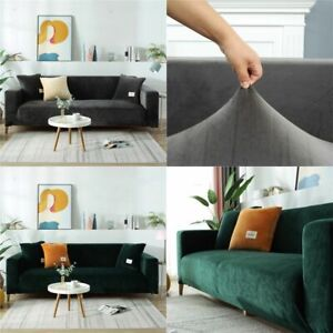Velvet Sofa Elastic Sofa Covers Thick Plush Stretch 1/2/3 Seater Couch Slipcover