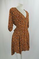 Faithfull The Brand Yellow and Brown Floral Dress US 8/ UK 12/ EU 40
