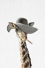 FUNNY GIRAFFE DRESSED IN A HAT ART PRINT 16x20 whimsical animal face head poster
