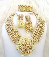 Customised Cream White with Gold Crystal Bridal Wedding African Bead Jewelry Set