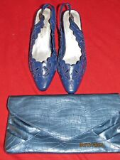 New Women's Annie Navy Blue Beaded Shoes Size 7M With Matching Clutch