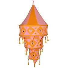 Pantalla lámpara India rosa naranja 75cm algodón decoración oriental iluminación