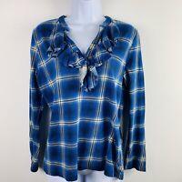 Cahps Denim Womens Top Sz L Blue Plaid Ruffle Front Long Sleeve Casual   W31