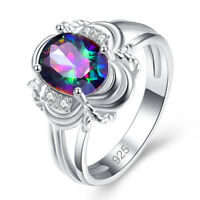 Mystic Rainbow & White Topaz Gemstone Silver Ring Size 6 7 8 9 10 11 12 13 Gifts