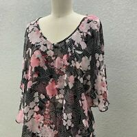 Atelier 29 Tunic Top Blouse Women's M Black Floral Flowy Layered 3/4 Sleeve