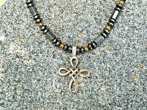 Men's Women's Magnetic Hematite Necklace Pewter Celtic Holy Cross Pendant