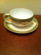 Antique 1900-1940 Silesia China Green Gold Victorian Floral Cup And Saucer Set