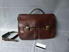 TEXIER Sac Cartable Style écolier 100% cuir marron multi compartiments BON ETAT