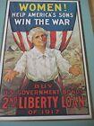"WW1 ""Women Help Americas Sons Win the War""2nd.Liberty Loan of 1917 Plaque 8 x12"