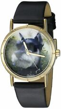 Whimsical Watches P0130066 Gold-tone Schnauzer Dog Lover Black Leather NEW!!