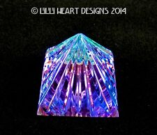 "Spectacular Bermuda Blue Retired Fine Crystal Fluted Egyptian Pyramid 50Mm 2"""