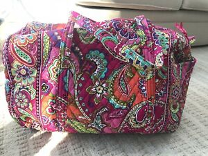 Vera Bradley Retired Pink Swirls Large Quilted Cotton Duffel Bag. New, No Tags.