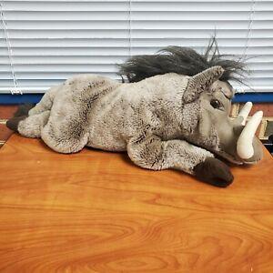 "FAO Schwarz Warthog Plush Rare Realistic Stuffed Animal 24"" Long"