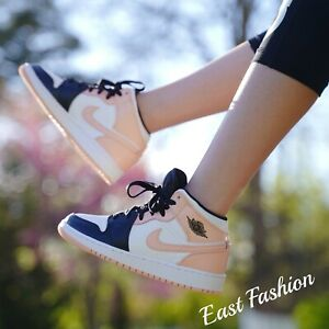 Nike Air Jordan 1 Mid Crimson Tint Toe Arctic Orange 554725-133 GS Sizes