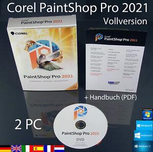 Corel PaintShop Pro 2021 Vollversion 2 PC Box + DVD, Handbuch (PDF) OVP NEU