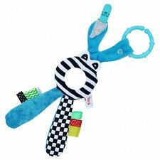 Rustle mirror rattle soft touch baby toy straps hand made activity BLUE newborn