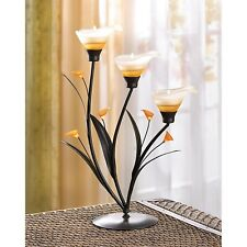 NEW IRON/GLASS/ACRYLIC AMBER LILIES TEALIGHT CANDLE HOLDER BY GALLERY OF LIGHT