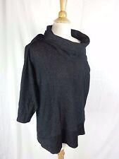 Dana Buchman Women's Size XL Black Shiny Blouse Top 3/4 Sleeve
