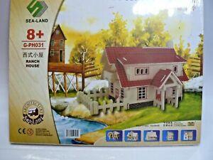 Woodcraft Construction Kit Farmhouse Model, Free Post!