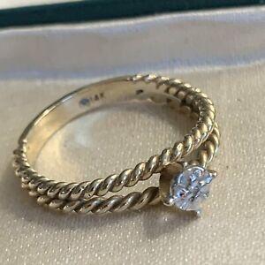 14K Gold Split Band Tiny Diamond Ring
