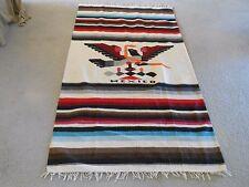 "Vintage Mexican Wool Rug Blanket 48"" x 87"" W/Fringe Southwestern Mexico"