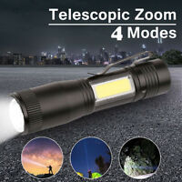 XPE Q5 + COB LED Flashlight 14500 / AA 4 modes Pocket Clip Torch Light Zoomable