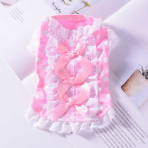 Teacup Yorkie Puppy Skirt Bow Tie Pink Dog Dress Clothes Cotton for Maltese Cat