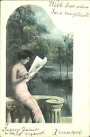 Girl on terrace Christmas card 1905 postcard antique colour printed