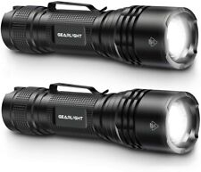 GearLight TAC LED Tactical Flashlight [2 PACK] - Single Mode, High Lumen,w/ Clip
