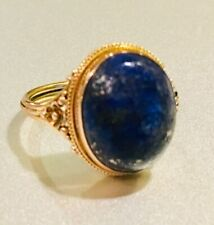 VINTAGE 14KT YELLOW GOLD EUROPEAN-STYLE BLUE SODALITE WOMEN'S RING, CAN BE SIZED