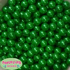12mm Christmas Green Acrylic Faux Pearl Bubblegum Beads Lot 40 pc.chunky gumball