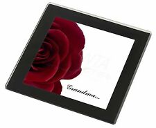 'Red Rose, 'Grandma' Black Rim Glass Coaster Animal Breed Gift, GRA-R1GC