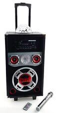 Karaoke Anlage Box / Mikrofon 73 cm Discokugel Lichteffekte Bluetooth Laufräder
