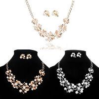 Fashion Pearl Crystal Charm Chunky Pendant Chain Choker Bib Necklace Jewelry Set