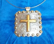 """Necklace Western Cowgirl Choker Chunky Pendent CROSS Concho n/g berry 2-1/4"""" squ"""