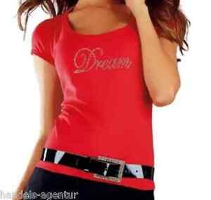 T-Shirt Damenshirt Damen Dream mit Strass-Steinchen Gr. 32, 36/38, 40/42, 44