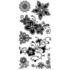 NEW Inkadinkado Gem Stone Flowers Clear Stamp Set of 7 Card Making SCRAP 98980