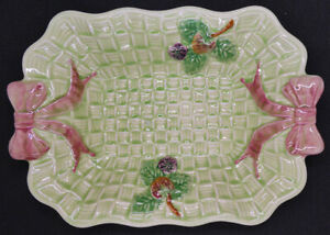 Shorter & Son Ltd Hand Painted Cake Plate in Basket Weave Pattern with Pink Bows
