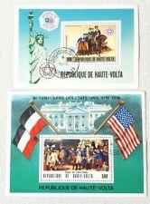 Lot 2 vintage HAUTE VOLTA US BICENTENNIAL 1976 Stamps Liberty Yorktown America