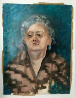 """Vintage 18""""x24"""" oil painting by Ana Sauer of Indiana, Teal Portrait of Woman"""
