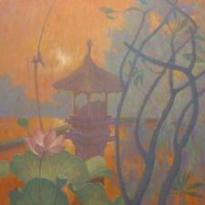 """Hermoso Y Original Marca Harrison """"PADI Santuario"""" Moonlight Budista Pintura Al Óleo"""