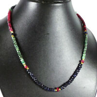 """150 Ct+Natural Emerald Ruby Sapphire Single Strands Multi Gem Beaded Necklace18"""""""
